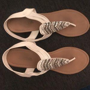 White embellished sandals